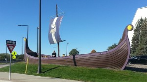 Playing the tourist outside the Minnesota Vikings football team practice facility